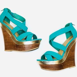 Just Fab Turquoise High Heel Wedges Sz 8.5